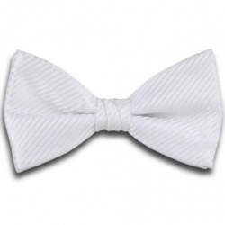 Polyester Pre-Tied White Bow Tie with Diagonal Stripe Design